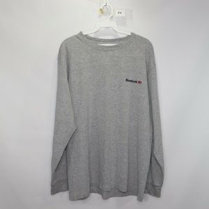 Vintage Reebok Spell Out Long Sleeve  Shirt Gray